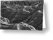 Black And White Image Of The Badlands Greeting Card
