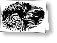 black and white ink print poster One of a Kind Global Fingerprint Greeting Card