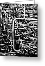 Black And White Jet Engine Greeting Card