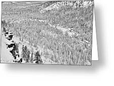 Black And White Lake Tahoe California Covered In Snow During The Winter Greeting Card