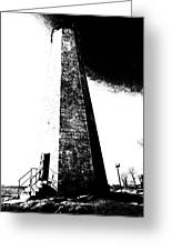 Black And White Lighthouse Greeting Card
