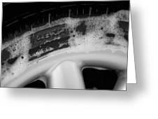 Black And White Mini-cooper Soapy Wheel Greeting Card