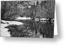 Black And White Mirror - View Of Mirror Lake In Yosemite National Park. Greeting Card by Jamie Pham