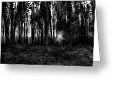 Black And White Monochrome Artistic Painterly Sun Between Trees  Greeting Card