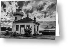 Black And White Mukilteo Lighthouse Greeting Card