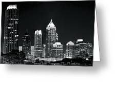 Black And White Night In Atlanta Greeting Card