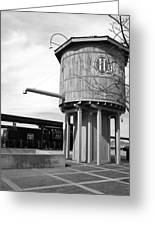 Black And White Of A Water Tower Greeting Card
