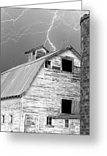 Black And White Old Barn Lightning Strikes Greeting Card