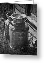 Black And White Old Prairie Homestead Vintage Creamery Cans Near The Badlands Greeting Card
