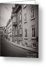 Black And White Old Style Photo Of Old Quebec City Greeting Card