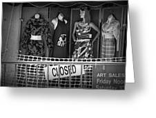 Black And White Outdoor Clothing Display Greeting Card