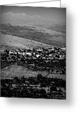 Black And White Peaks Over Prescott Homes Greeting Card