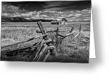 Black And White Photo Of A Wood Fence At The John Moulton Farm Greeting Card