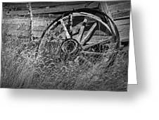 Black And White Photo Of An Old Broken Wheel Of A Farm Wagon Greeting Card