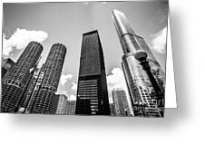 Black And White Photo Of Chicago Skyscrapers Greeting Card