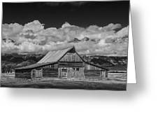 Black And White Photo Of The T.a. Moulton Barn In The Grand Tetons Greeting Card