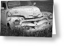 Black And White Photograph A Vintage Junk Chevy Pickup Truck Greeting Card