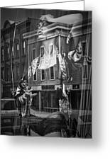 Black And White Photograph Of A Mannequin In Lingerie In Storefront Window Display  Greeting Card