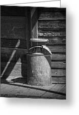 Black And White Photograph Of Vintage Creamery Can By The Old Homestead In 1880 Town Greeting Card