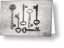 Black And White Photograph Of Vintage Skeleton Keys For Rustic Home Decor Greeting Card