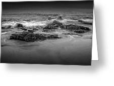 Black And White Photograph Of Waves Crashing On The Shore At Sand Beach Greeting Card