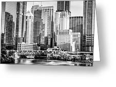 Black And White Picture Of Chicago At Lake Street Bridge Greeting Card