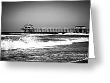 Black And White Picture Of Huntington Beach Pier Greeting Card by Paul Velgos