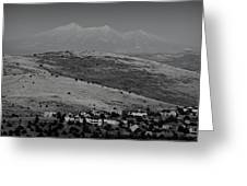 Black And White San Francisco Peaks Over Glassford Hill Greeting Card