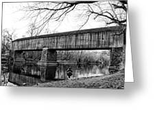 Black And White Schofield Ford Covered Bridge Greeting Card
