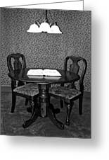 Black And White Sitting Table Greeting Card