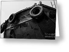 Black And White Stern With Ladder And Tires Greeting Card
