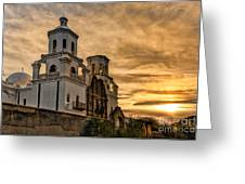 Black And White Sunrise Over Mission Greeting Card