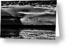 Black And White Sunset Over The Mead Wildlife Area Greeting Card