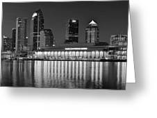Black And White Tampa Night Greeting Card