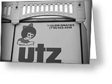 Black And White Utz Sign Greeting Card