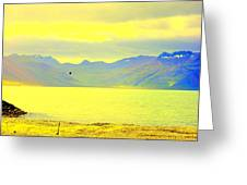 A Black Bird Is Crossing The Golden Landscape Greeting Card