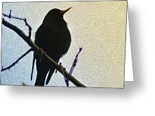 Black Bird Perch Greeting Card