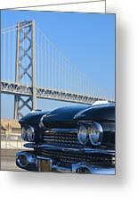Black Cadillac In San Francisco Greeting Card