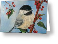 Black Capped Chickadee And Winterberries Greeting Card