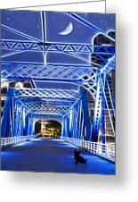 Black Cat Blue Bridge Greeting Card