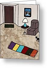 Essence Of Home - Black Cat Entering Living Room Greeting Card