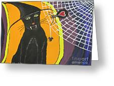 Black Cat In A Hat  Greeting Card