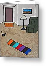 Essence Of Home - Black Cat In Living Room Greeting Card