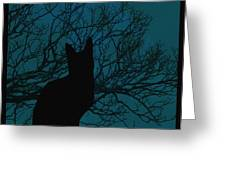 Black Cat In The Moonlight Blue Greeting Card