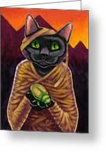 Black Cat Mummy Monster Greeting Card