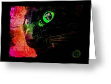 Black Cat Neon Greeting Card