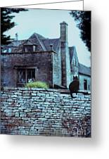 Black Cat On A Stone Wall By House Greeting Card