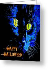 Black Cat Portrait With Happy Halloween Greeting  Greeting Card