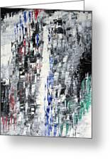 Black Crystal Cave - Black White Abstract By Chakramoon Greeting Card