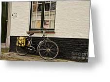 Black Cycle Rests On Window Sill Bruges Belgium Greeting Card